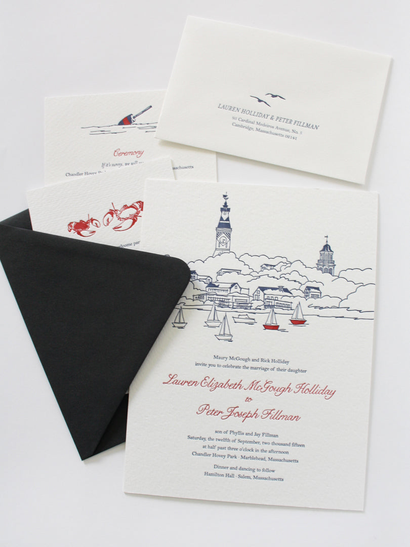 Marblehead Massachusetts Wedding Invitation