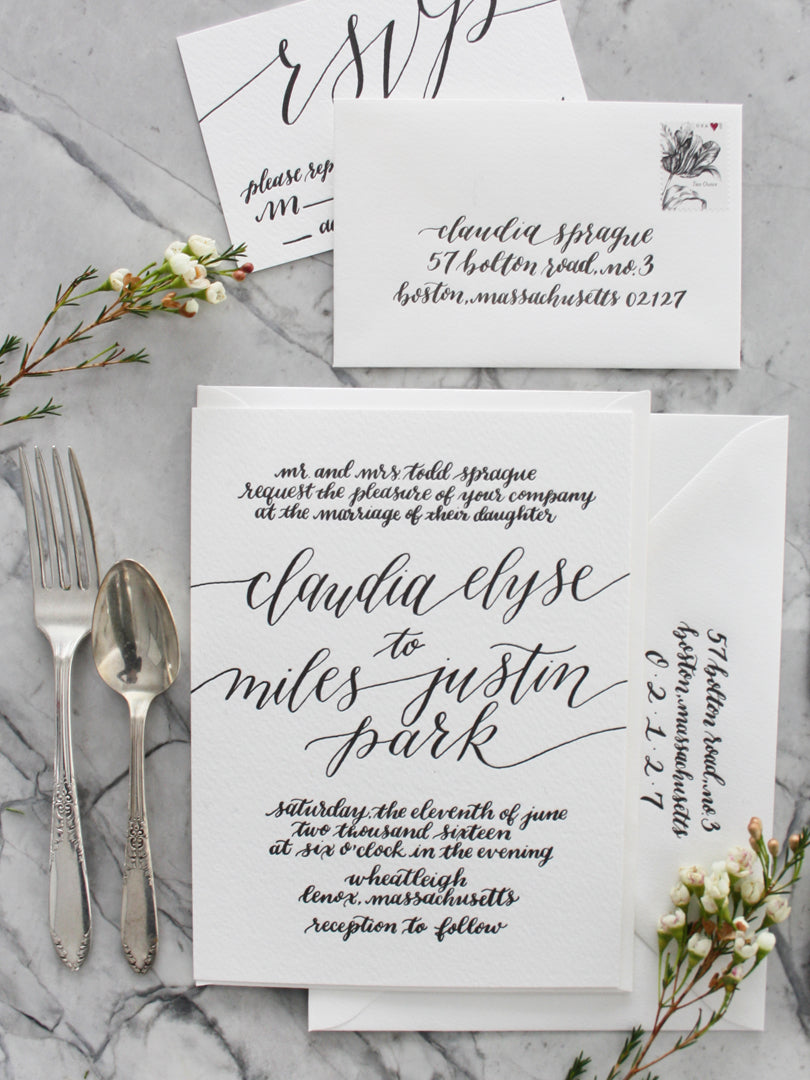 Modern Hand Lettering Invitation Suite by Leveret & Hare | Smudge Ink
