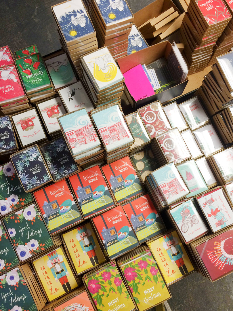 Stacks of Boxed Holiday Cards