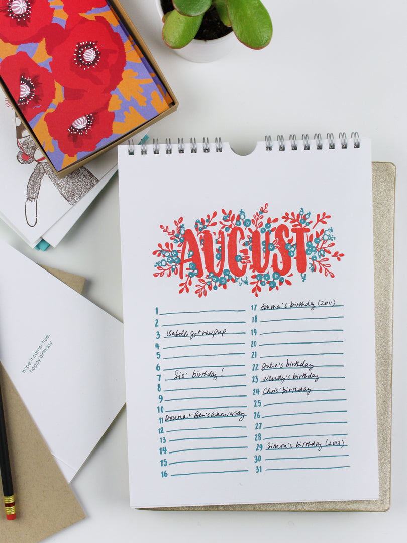 Getting Organized with a Perpetual Calendar | Smudge Ink