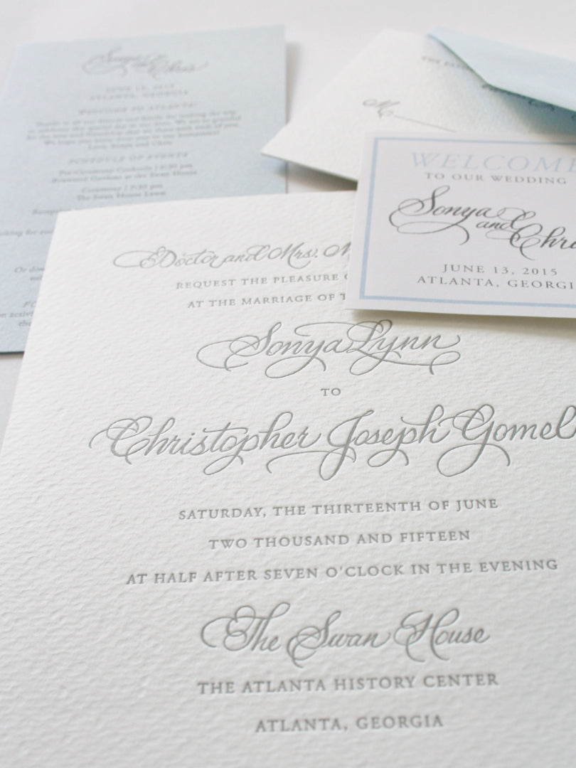 Silver Calligraphy Wedding Invitation | Smudge Ink