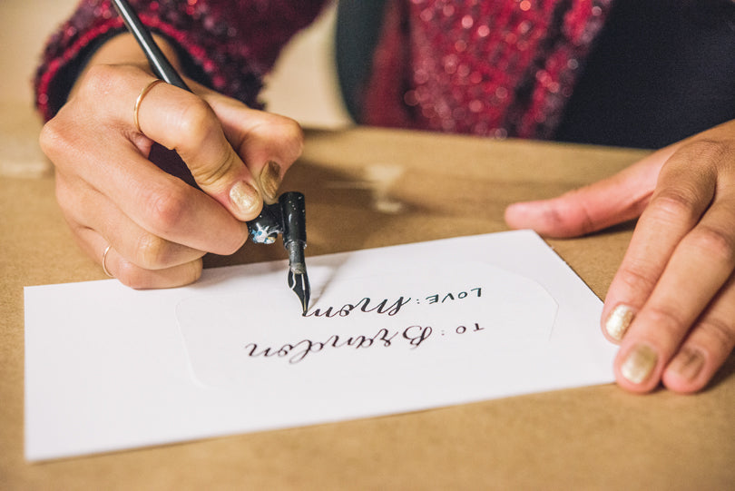 Hand Lettering by Leveret & Hare | Holiday Sip & Shop | photo by Jessica Rich Photography