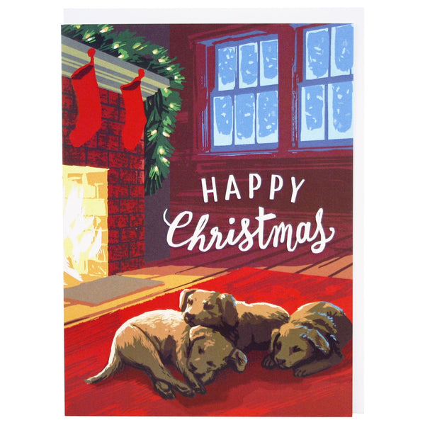 Snoozing Puppies Christmas Card
