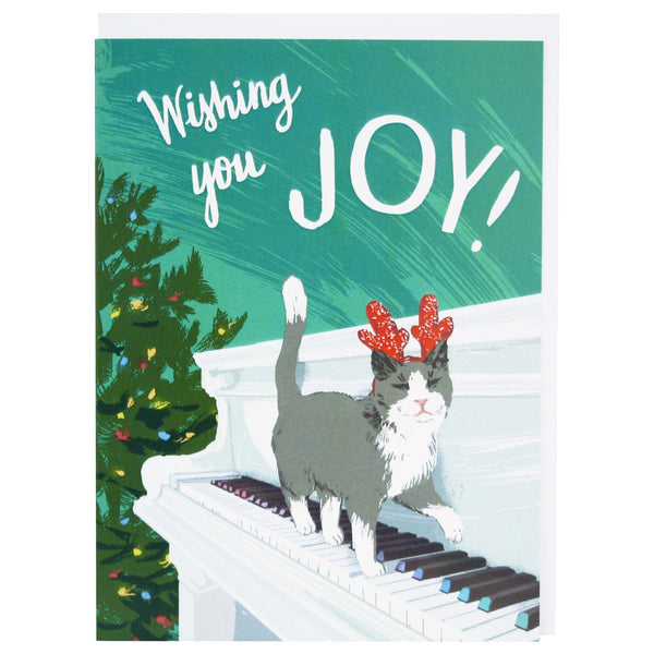 Cat Playing Piano Christmas Card