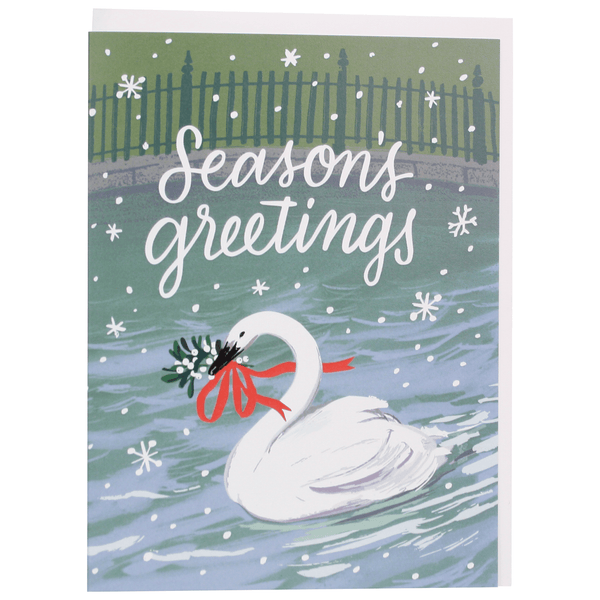 Swan with Mistletoe Holiday Card
