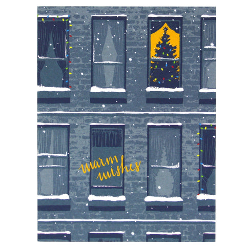 Apartment Windows Christmas Card