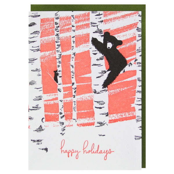 Bears Climbing Trees Holiday Card