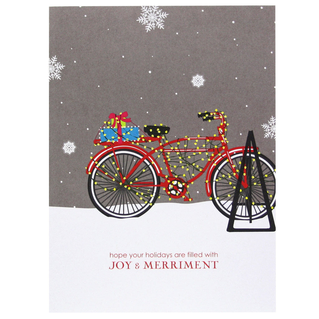 Bicycle Strung with Lights Holiday Card