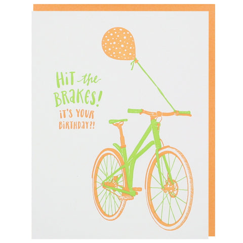 Bike with Orange Balloon Birthday Card