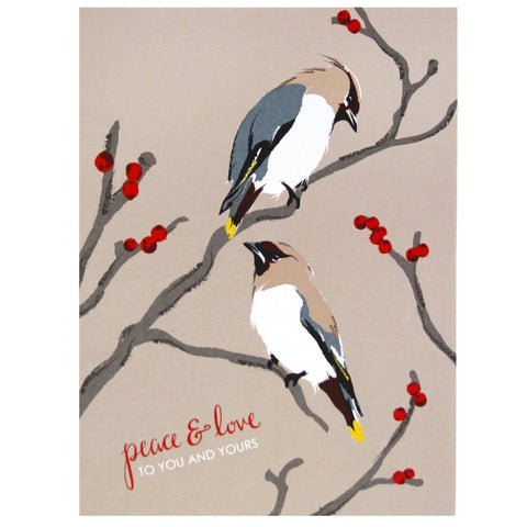 Birds on Berry Branches Holiday Card