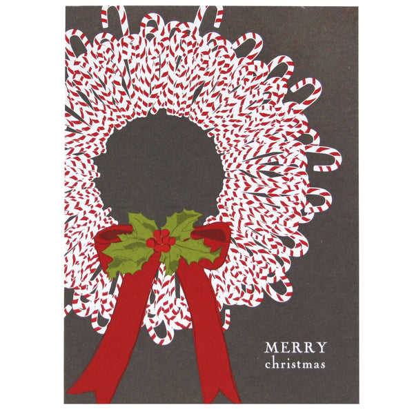 Candy Cane Wreath Christmas Card