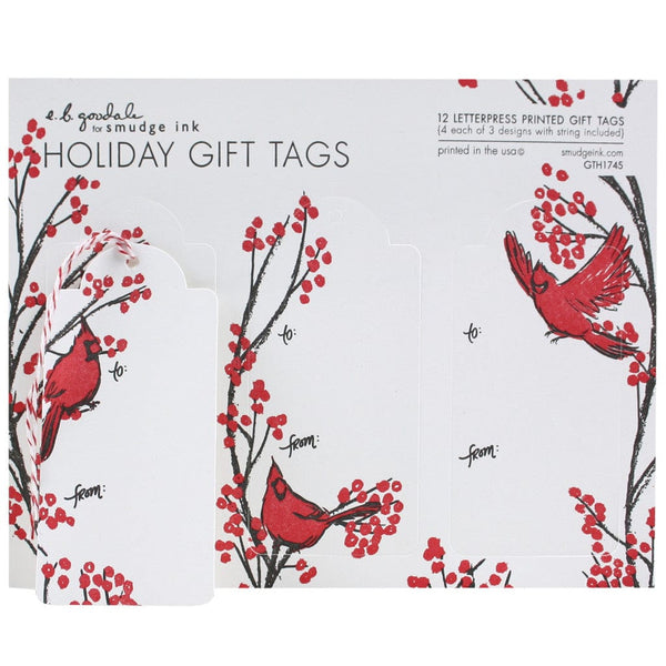 Holiday tagged gift tags labels smudgeink cardinals gift tags negle Image collections