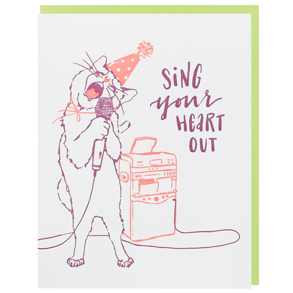 Cat Crooner Birthday Card