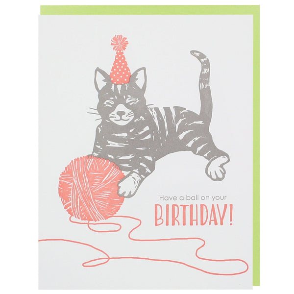 Cat with Yarn Birthday Card