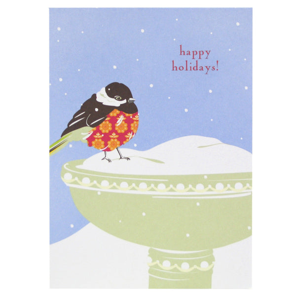 Chickadee and Bird Bath Holiday Card