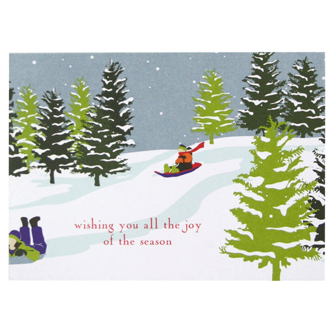 Children Sledding Holiday Card