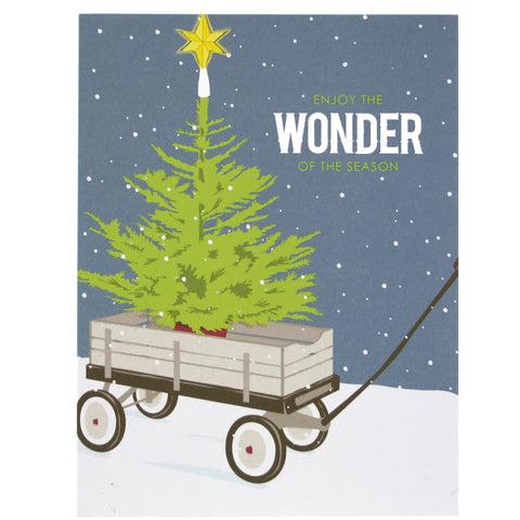 Christmas Tree in Wagon Card