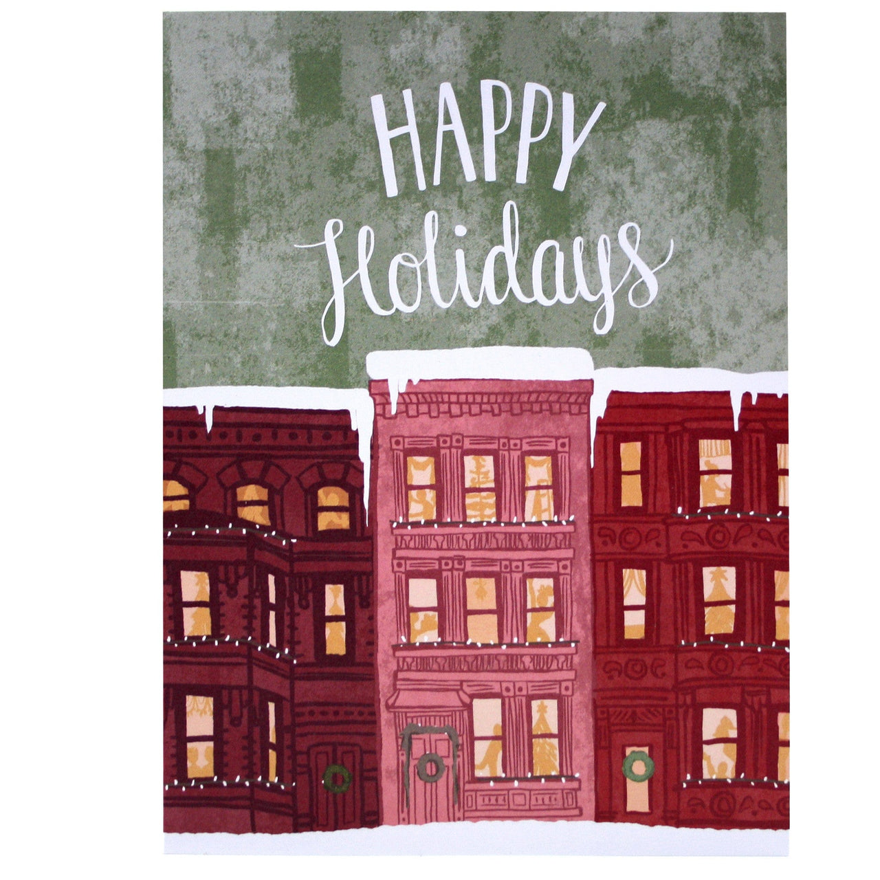City Brownstones Holiday Card