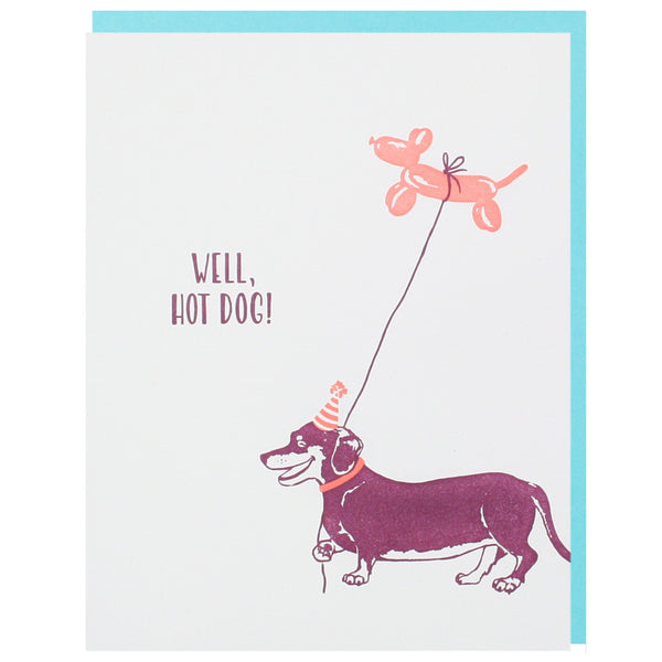 Dachshund with Balloon Birthday Card