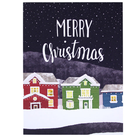 Decorated Houses Christmas Card