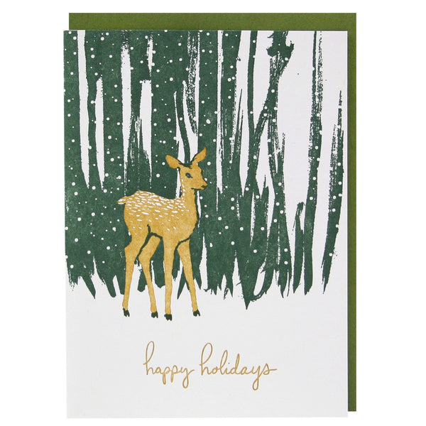 Deer in Forest Holiday Card