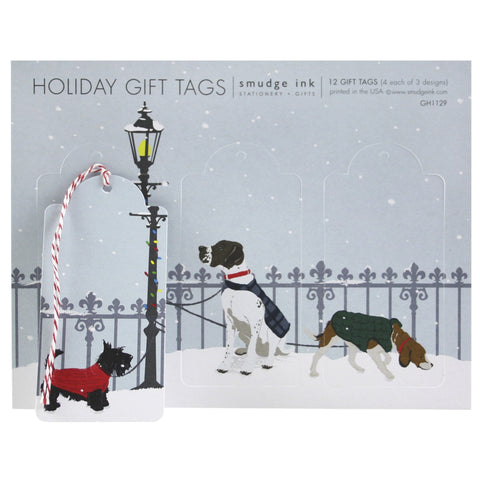 Dogs in Winter Gift Tags