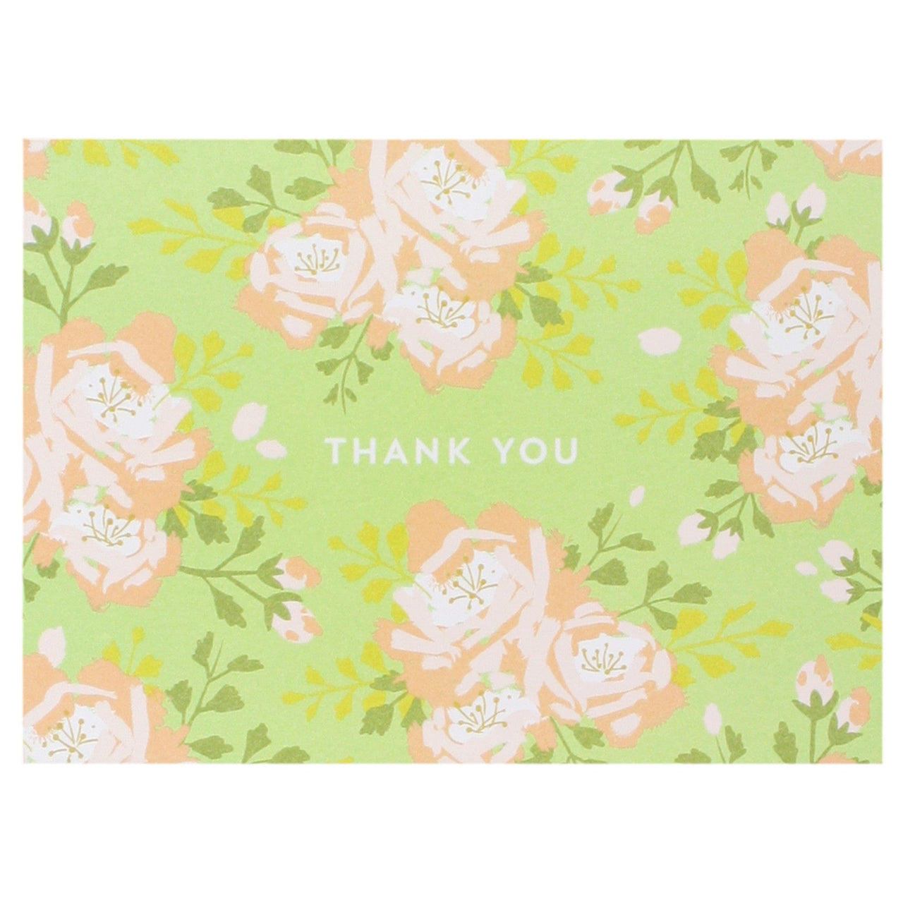 English Roses in Lime Green Thank You Notes