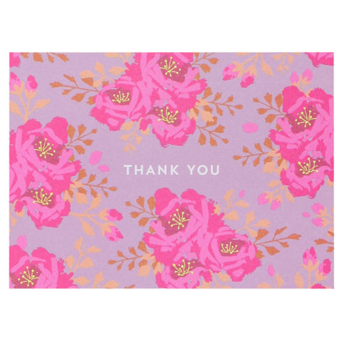English Roses in Mulberry Thank You Notes