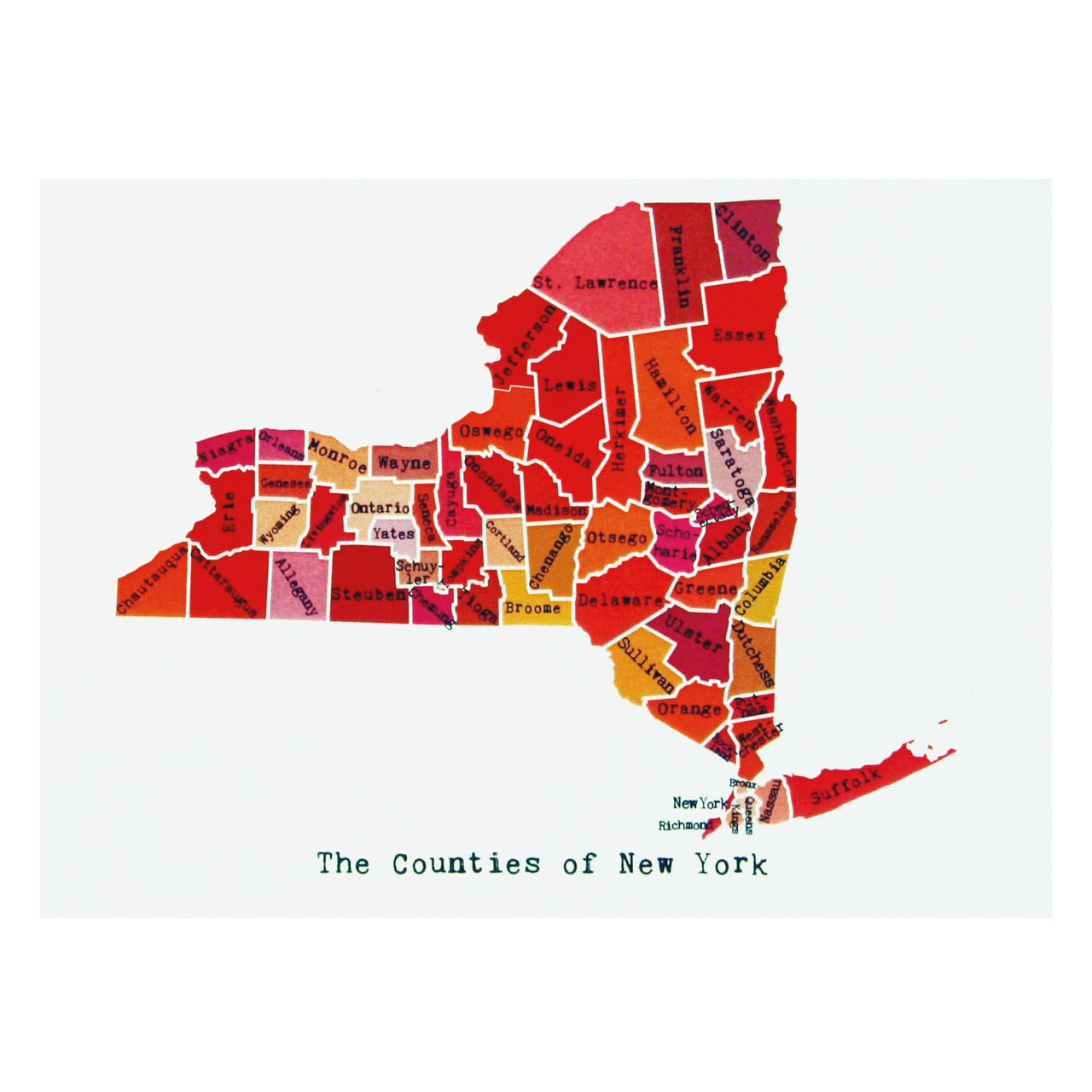 Map of New York Note Card