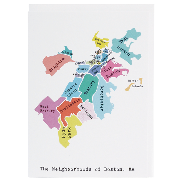 Map of Boston Note Card (Rainbow)