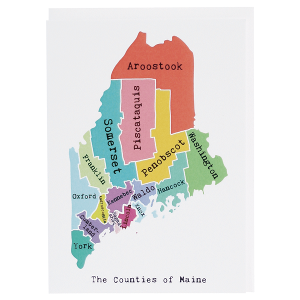 Map of Maine Note Card (Rainbow)