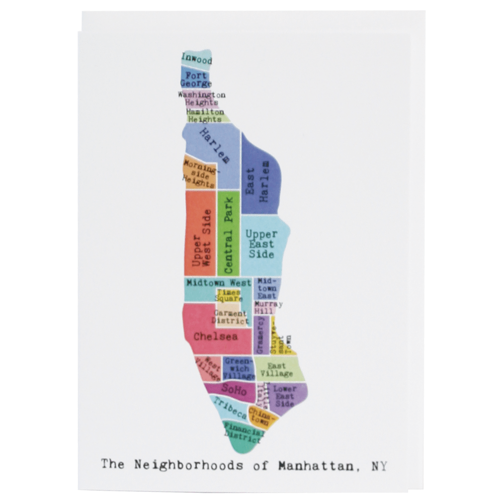 Map of Manhattan Note Card (Rainbow)