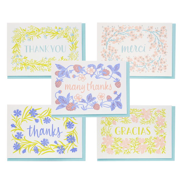 Flowering Thanks Note Cards Assorted Set