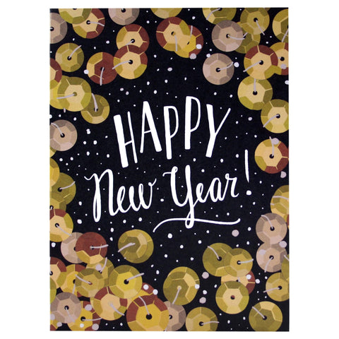 Gold Sequins New Year Card