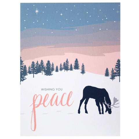 Grazing Reindeer Holiday Card