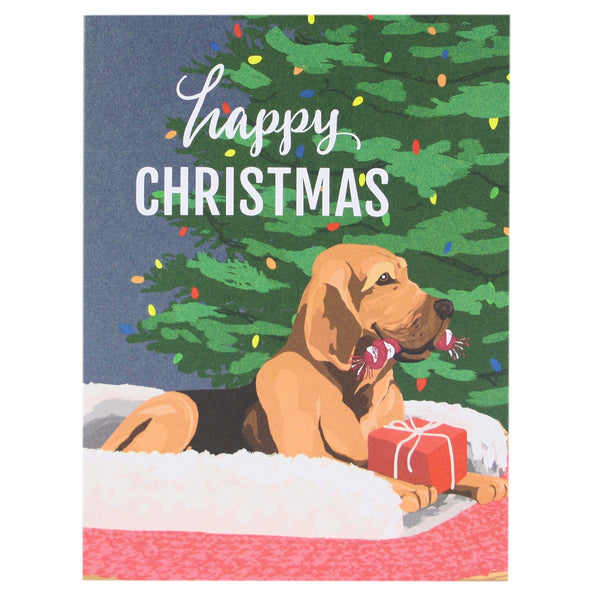 Happy Bloodhound Christmas Card