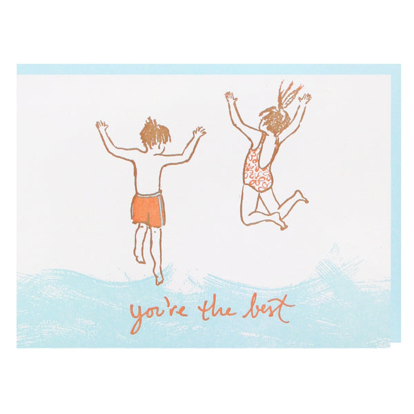 Jumping into Lake Friendship Card