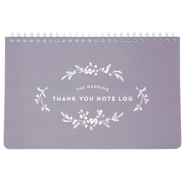 Grey Wedding Thank You Note Log