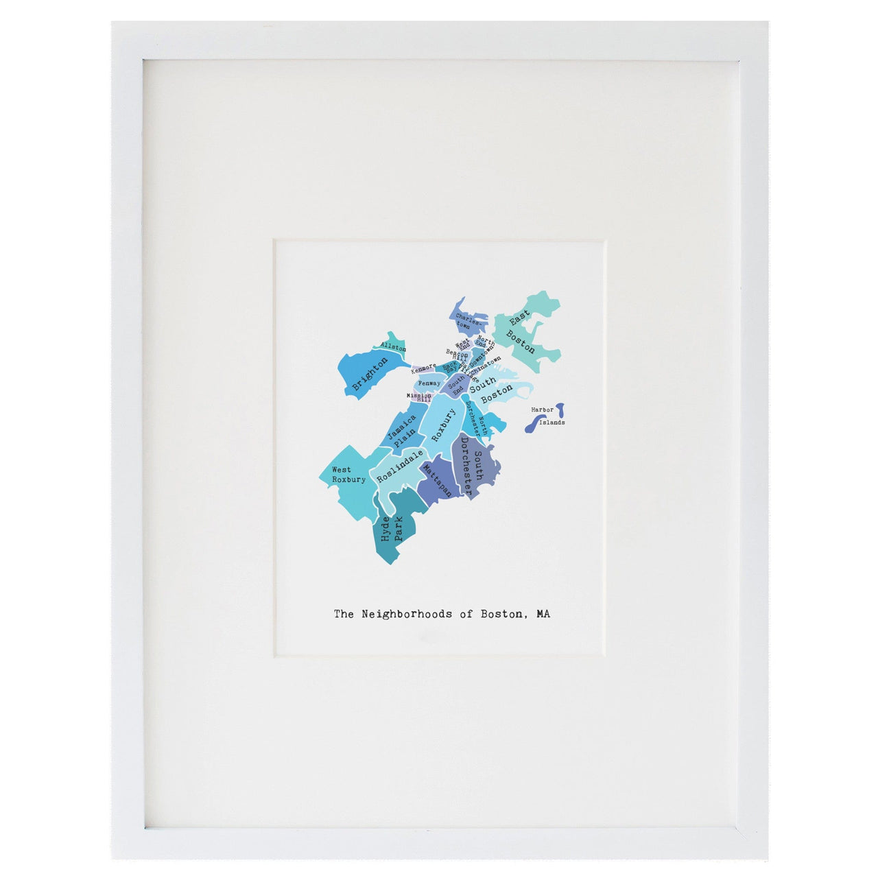 Map of Boston Art Print (Blues)