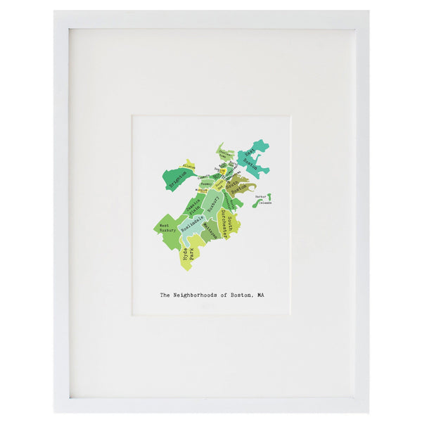 Map of Boston Art Print (Greens)
