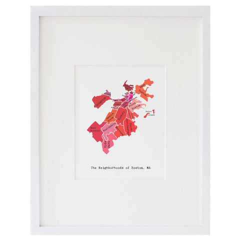 Map of Boston Art Print (Reds)