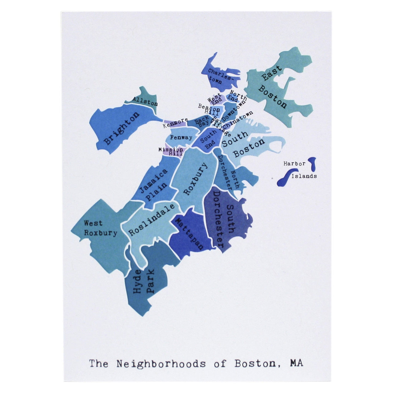 Map of Boston Note Card (Blues)