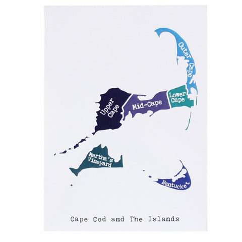 Map of Cape Cod and Islands Note Card