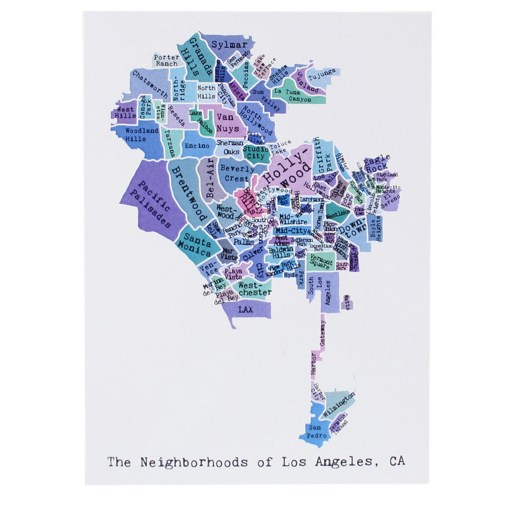 Map Of Chicago Note Card April May Smudge Ink - Los angeles map porter ranch