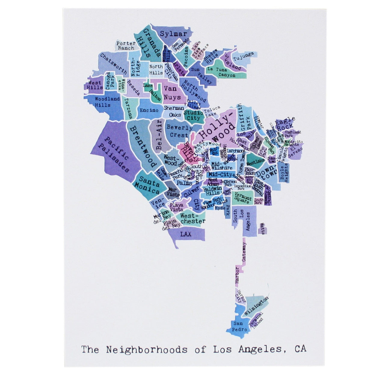 Map of Los Angeles Note Card