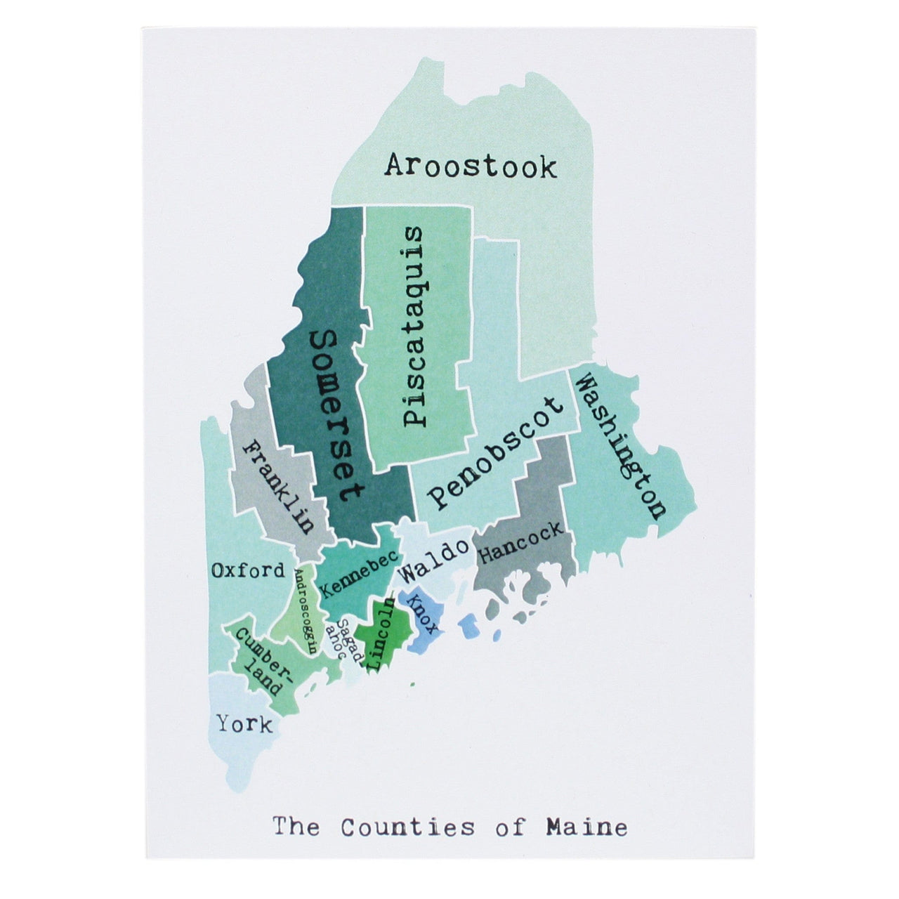 Map of Maine Note Card April May Smudge Ink smudgeinkcom