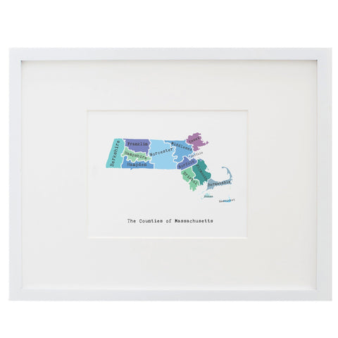 Map of Massachusetts Art Print