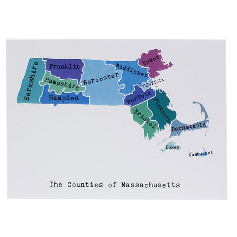 Map of Massachusetts Note Card