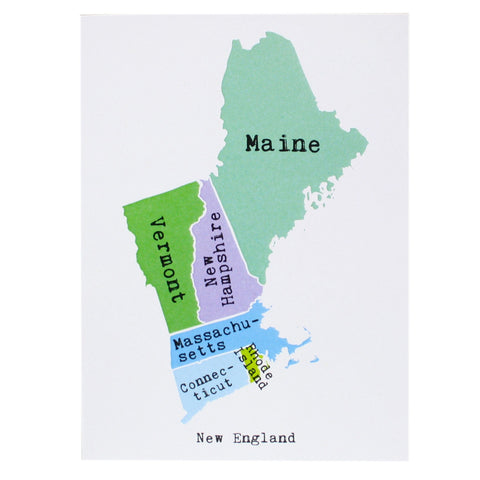 Map of New England Note Card