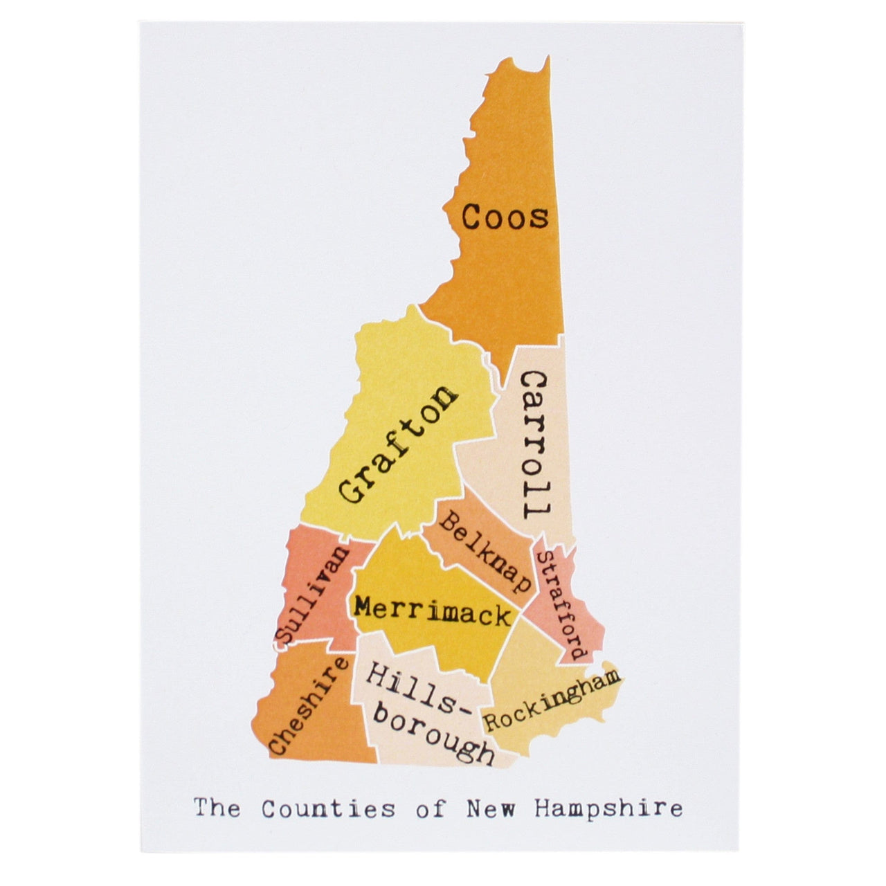 Map of New Hampshire Note Card